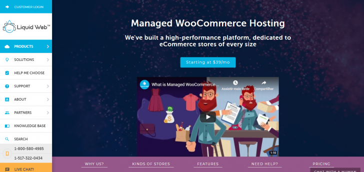 Página da hospedagem para WordPress com WooCommerce no site da Liquid Web