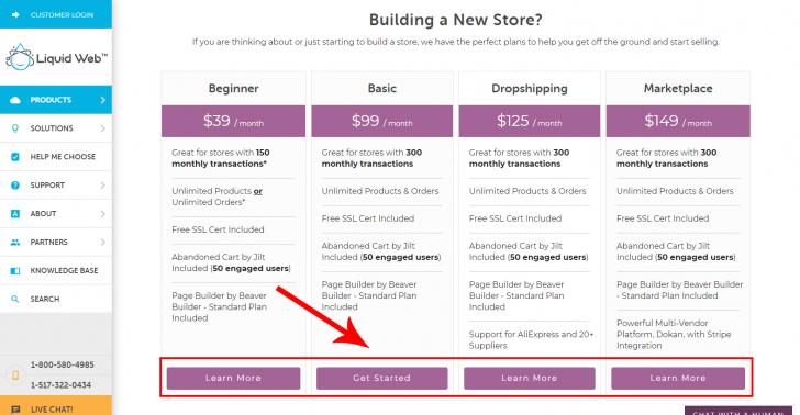 Página com os planos disponíveis para a hospedagem WordPress/WooCommerce no site da Liquid Web