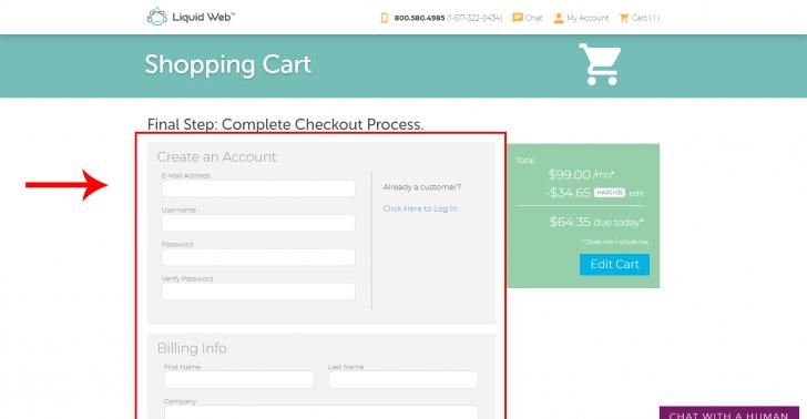 Tela do carrinho de compras (checkout) da Liquid Web