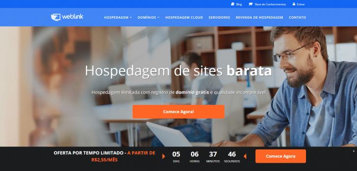 Página promocional no site da WebLink