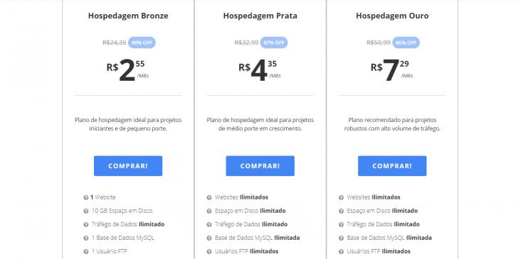 Planos de hospedagem já com o cupom de desconto WebLink aplicado aos preços