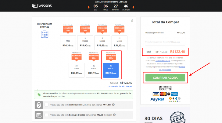 Carrinho de compras da WebLink, com os ciclos de pagamento disponíveis