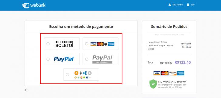 Formas de pagamento aceitas pela WebLink
