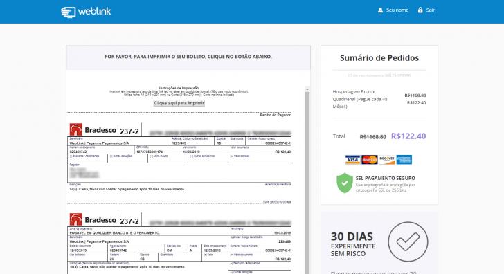Tela final, com o boleto gerado para pagamento, no site da WebLink