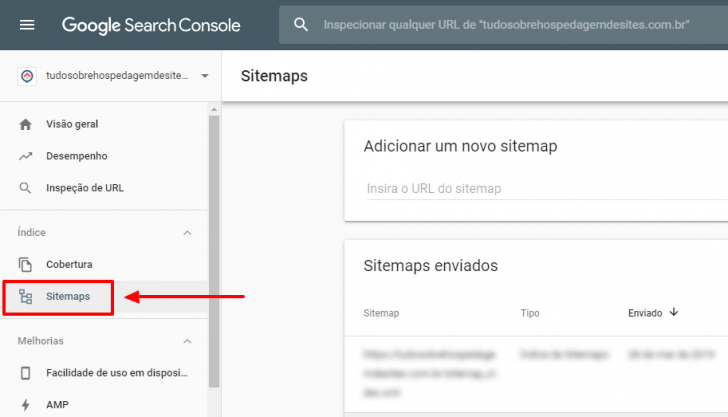 Painel de sitemaps no Google Search Console