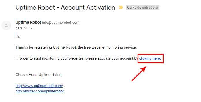 E-mail para ativação do cadastro no UptimeRobot