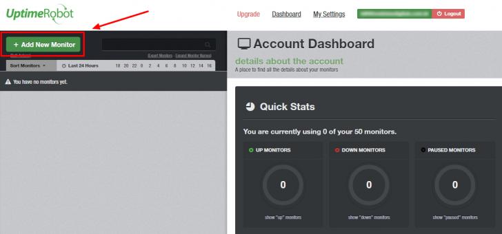 Página inicial do painel de monitoramento, sem nenhum monitoramento ativo.