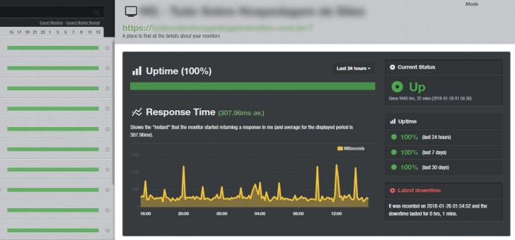 Monitoramento de um site em destaque no painel do UptimeRobot