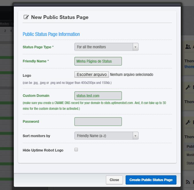 Tela para configuração da página de status