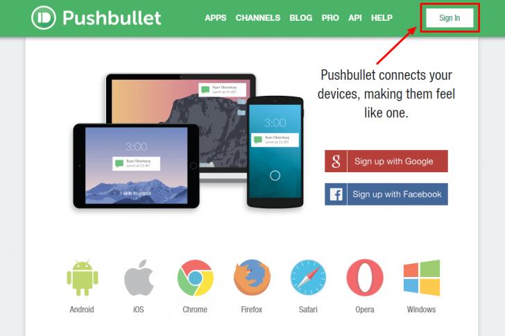 Página inicial do serviço Pushbullet