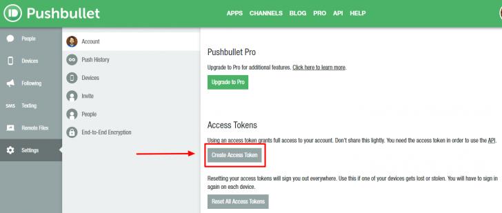 Painel do Pushbullet com o botão para criação do token de acesso