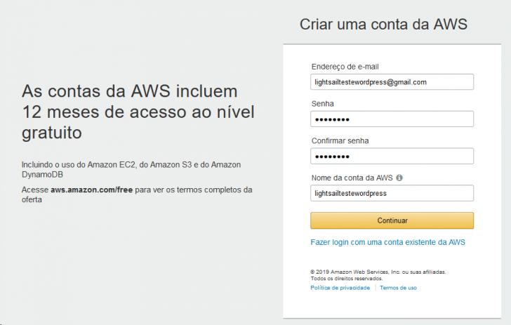 Página de cadastro na AWS (Serviços Web da Amazon)