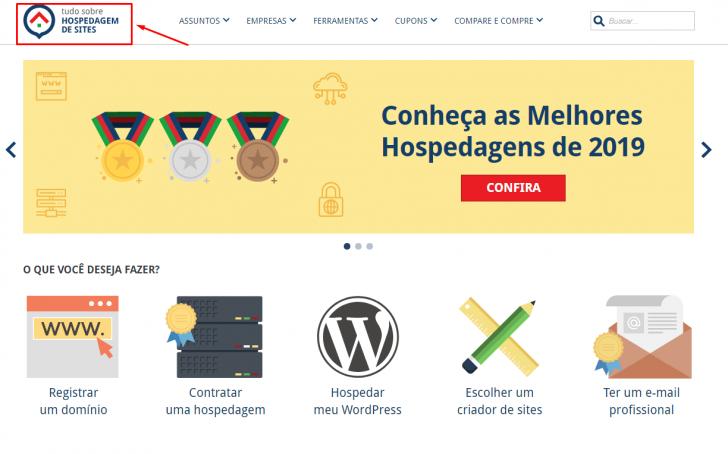 Logotipo em destaque no site Tudo Sobre Hospedagem de Sites