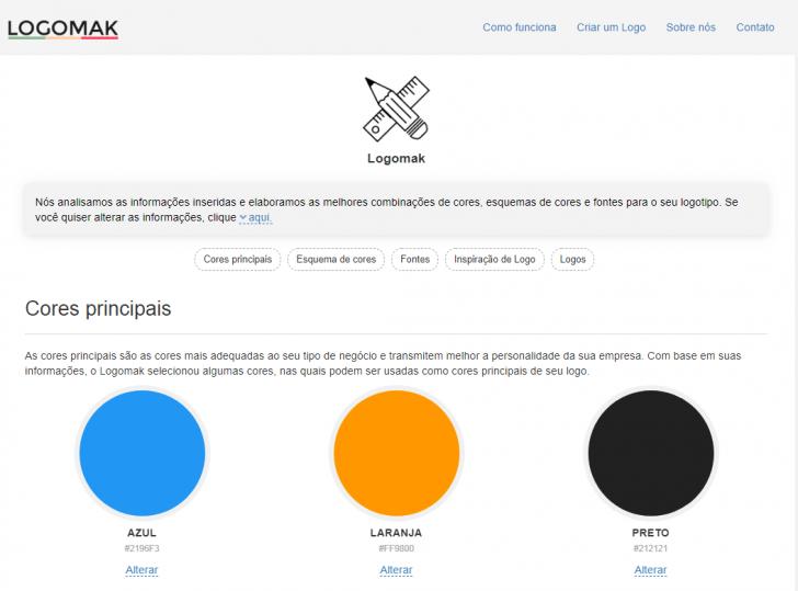 Opções da Logomark para criação de logos