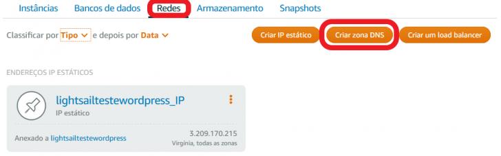 Criar uma Zona DNS para o seu WordPress no Amazon Lightsail.