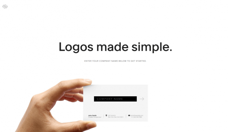 Página de criação de logos da Squarespace
