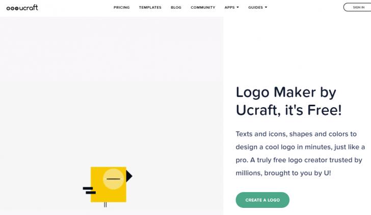 Página da Ucraft para criação de logos