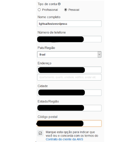 Dados pessoais solicitados para criar um usuário na AWS (Serviços Web da Amazon)