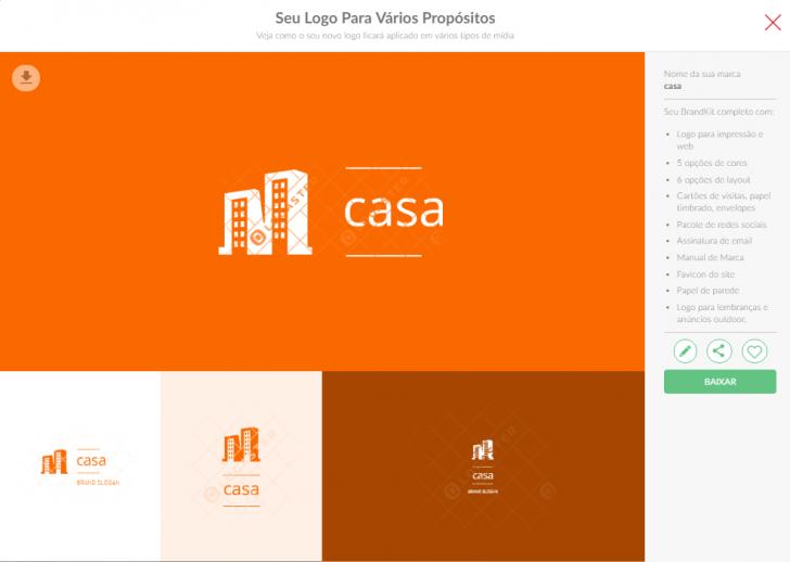 Etapa de definição das opções de logo, como fonte e cores
