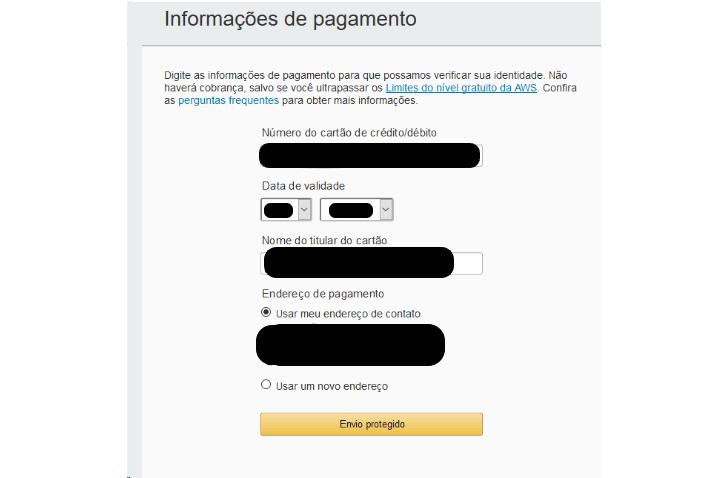 Dados de pagamento solicitados para criar um usuário no site da AWS (Serviços Web da Amazon)