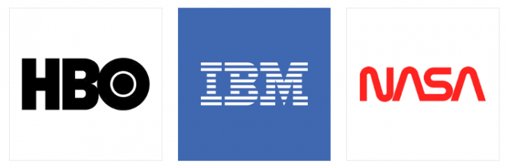 Logotipos da HBO, IBM e Nasa