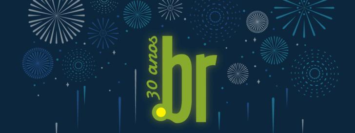Logotipo de 30 anos do domínio .br com fogos de artifício ao fundo