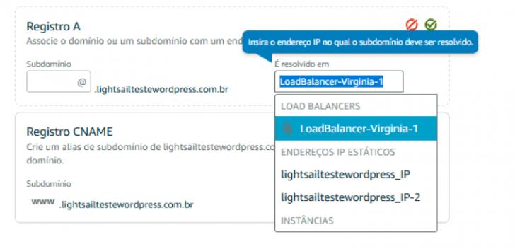Alterando seu registro DNS para o Load Balancer criado.