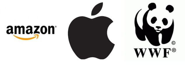 Logotipos da Amazon, Apple e WWF