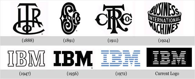 Evolução do logotipo da IBM ao longo dos anos.