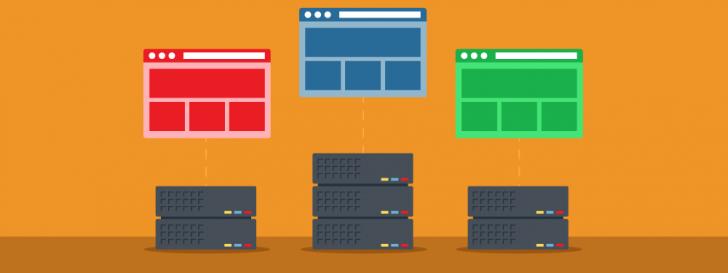 Ilustração com fundo laranja representando 3 sites, cada um em um servidor de hospedagem diferente.
