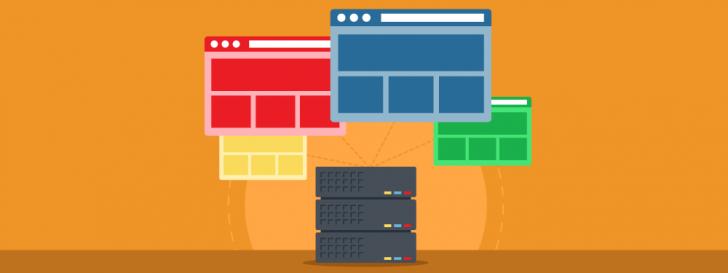 Ilustração com fundo laranja representando sites saindo do mesmo servidor.