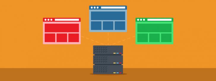 Ilustração com fundo laranja e 3 sites coloridos saindo do mesmo servidor