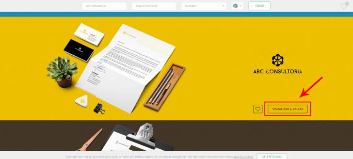 Tela de customização das opções de logo apresentadas pela Logaster