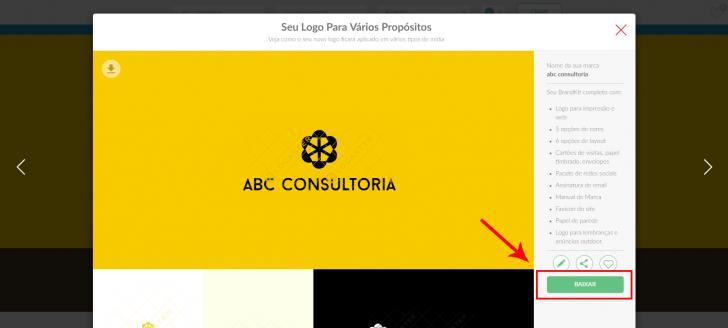 Tela de pré-visualização do logotipo escolhido