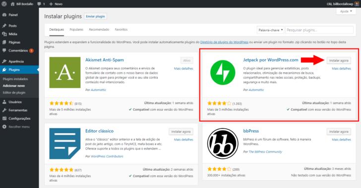 Primeiro passo para instalação do plugin Jetpack no painel do WordPress