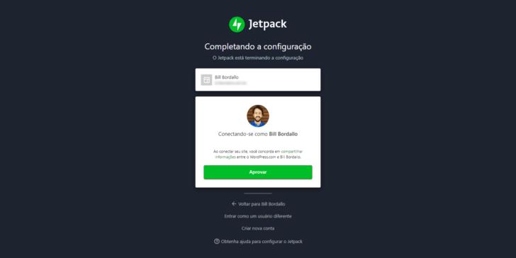 É necessário criar uma conta em WordPress.com para usar o Jetpack