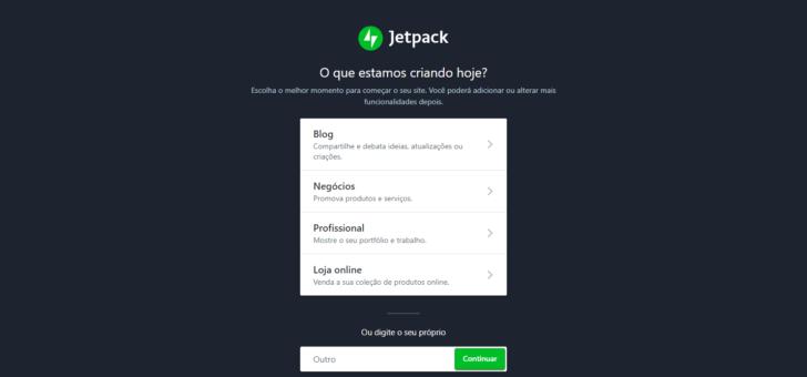 O assistente do Jetpack solicita algumas informações sobre o seu projeto