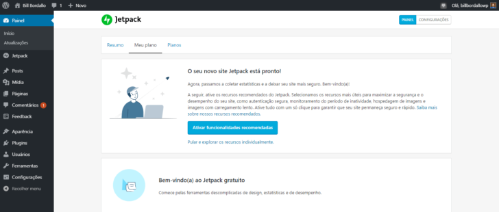 Painel de administração do Jetpack, dentro do painel do WordPress