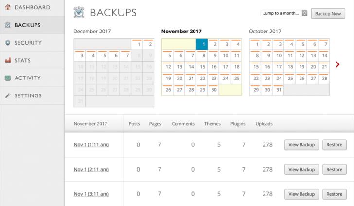 Tela do serviço de backups do Jetpack - Fonte: Jetpack