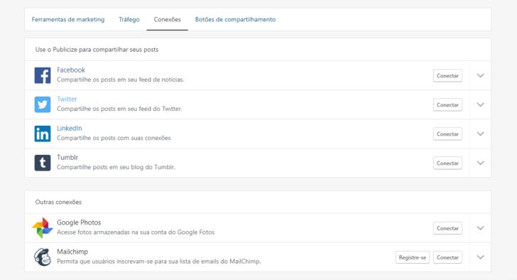 Área de configuração das redes sociais no Jetpack