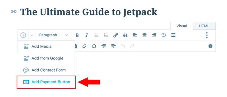 Editor de páginas do WordPress com a opção para inserção de um botão de pagamento destacada