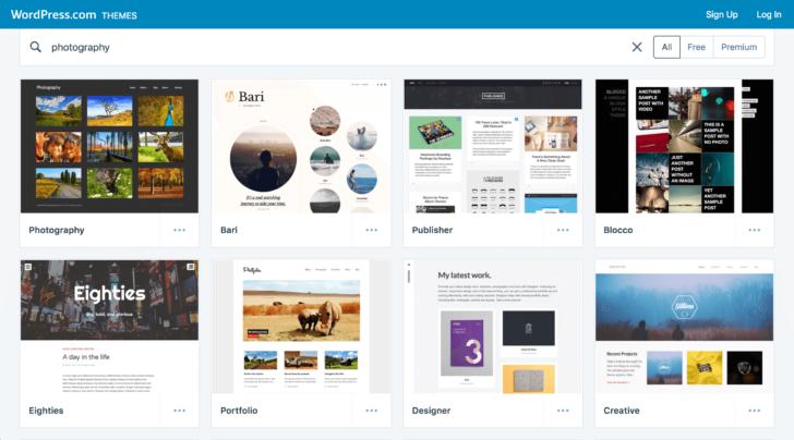 Exemplos de temas profissionais disponibilizados pelo plugin