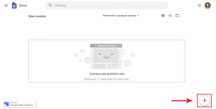 Página inicial do Google Sites, antes da criação de qualquer site