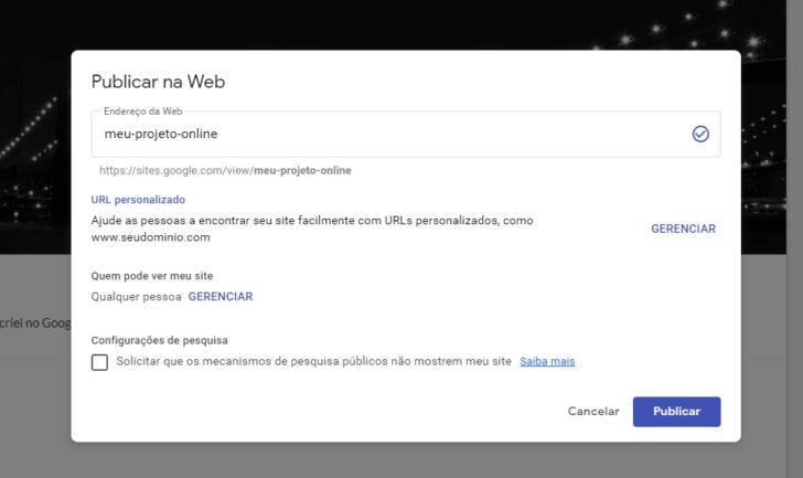 Opções de publicação do Google Sites