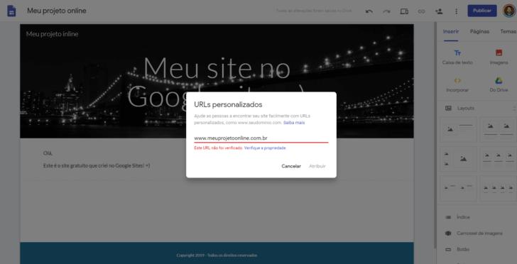 Janela para customização do domínio personalizado no Google Sites