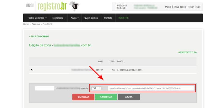 Inserindo uma entrada TXT no Registro.br