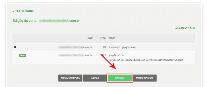 Salve as alterações na zona de DNS para publicá-las na internet