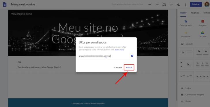 Atribuindo um domínio personalizado no Google Sites