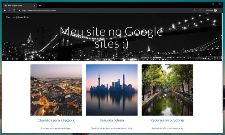 Site publicado com um endereço personalizado e certificado SSL no Google Sites