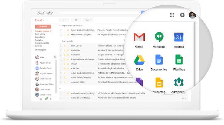 Laptop exibindo a caixa de entrada do e-mail com uma lupa sobre os serviços do G Suite